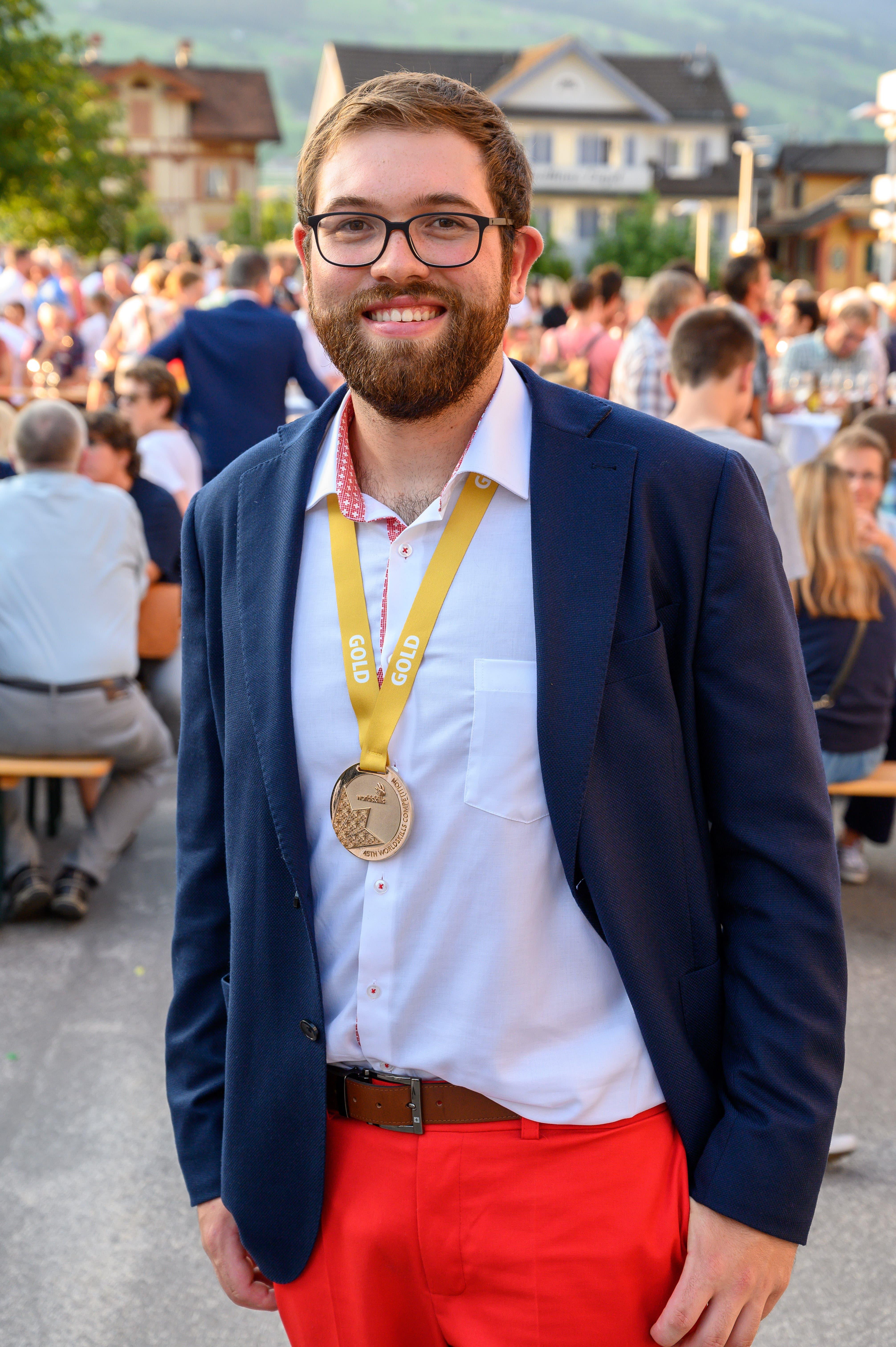 Mario Enz aus Giswil gewann Gold als Landschaftsgärtner. (Bild: Izedin Arnautovic, 29. August 2019)