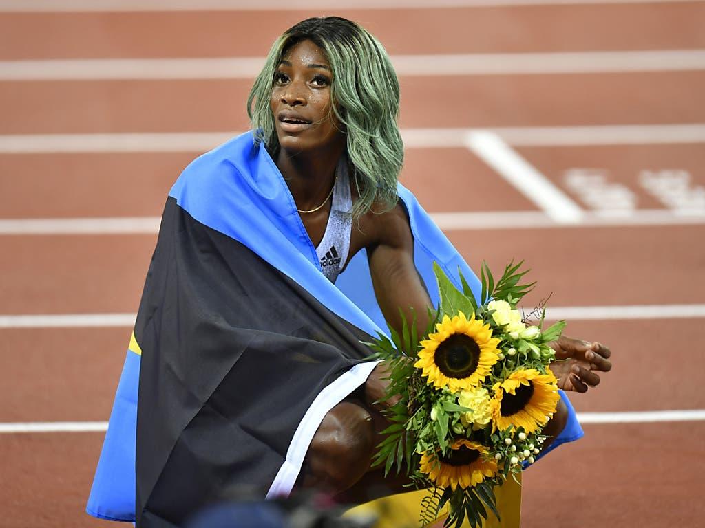 Shaunae Miller-Uibo gewann das 200 m Rennen der Frauen und lief in 21,74 Sekunden eine Jahresweltbestzeit (Bild: KEYSTONE/WALTER BIERI)