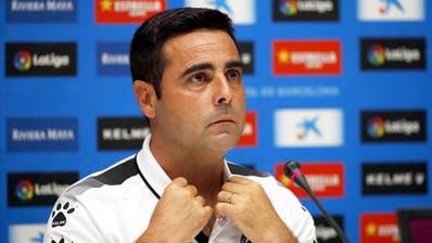 Espanyols Trainer David Gallego anlässlich einer Pressekonferenz seines Vereins. (Bild: Alejandro Garcia/Epa, Barcelona, 24. Juli 2019)