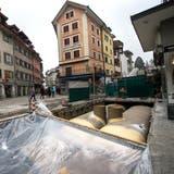 Gesamtsanierung der Kleinstadt, Baustelle Krienbachkanal beim Krienbrüeggli in der Stadt Luzern, fotografiert am 26. Januar 2017.(LZ/Eveline Beerkircher)