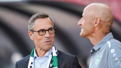 Präsident Matthias Hüppi würde den Cup am liebsten gewinnen, St.Gallens Trainer Peter Zeidler will in Winterthur einfach weiterkommen. (Bild: Claudio Thoma/Freshfocus)