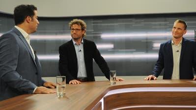 Im TVO-Talk: (v.l.) Ständerat Andrea Caroni (FDP), Moderator Stefan Schmid und Reto Sonderegger (SVP). (Bild: Astrid Zysset)