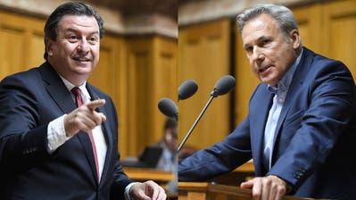 «Menschenfeindlich», sagt Corrado Pardini (SP, links) über die SVP-Initiative. «Eine Sauerei», findet Adrian Amstutz (SVP, rechts). (Bild: Keystone)