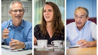 Sie fordern die SVP heraus: Ueli Fisch (GLP), Nina Schläfli (SP) und Kurt Egger (Grüne). (Bilder: ans/rom)