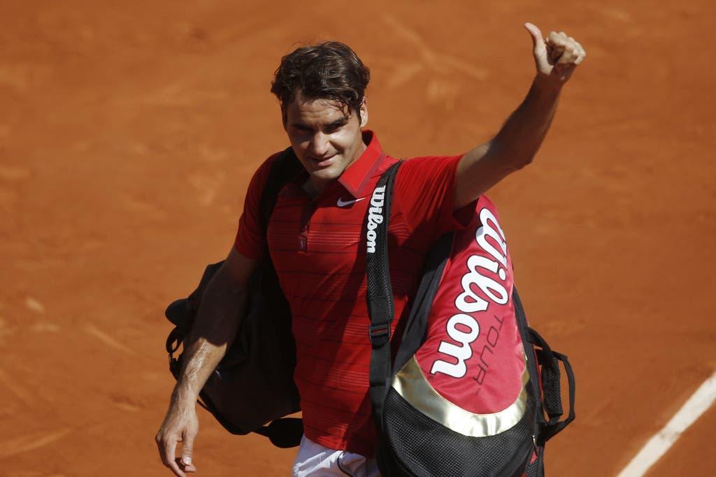 2011: Achtelfinal French Open: Federer s. Wawrinka 6:3, 6:2, 7:5Wieder Paris, wieder Achtelfinal, wieder ein Drei-Satz-Sieg für den «Maestro». Für einmal aber ist das Turnier für Federer nach dem Sieg gegen Wawrinka nicht in der nächsten Runde vorbei. Er kämpft sich in den Final vor, unterliegt dort aber Rafael Nadal in vier Sätzen. (Bild: Keystone)