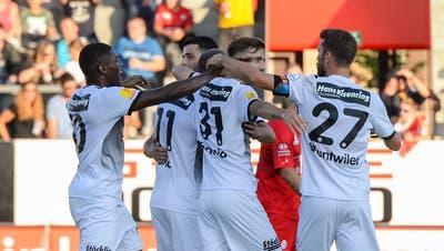Die Wiler bejublen das 1:0 durch Silvio. (Bild: Gianluca Lombardi)