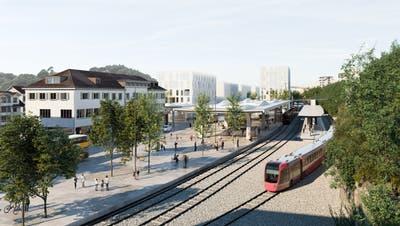 Eine Visualisierung des neuen Bahnhof s in Herisau. (Bild: PD)