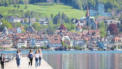 Blick auf die Stadt Zug. (Bild: Stefan Kaiser, Zug, 4. August 2015)