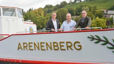 Die MS Arenenberg auf ihrer Fahrt in die URh-Werft in Langwiesen.Am Steuer Kapitän Urs Thaler. (Bild: Donato Caspari)