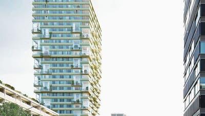 So soll das Holzhochhaus an der Baarerstrasse dereinst aussehen. (Visualisierung: PD / Filippo Bolognese)