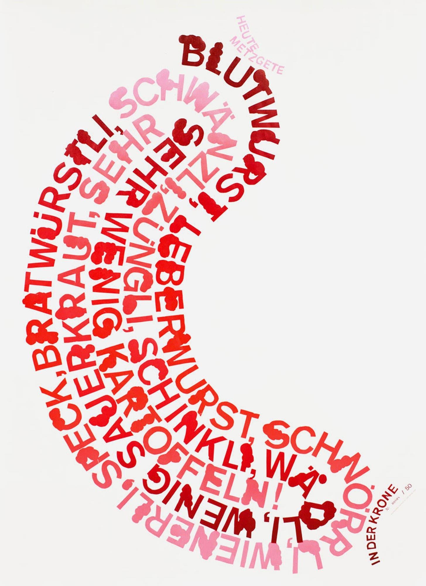 Beispiel aus der Ausstellung «Hochdruck Plakate»: «Heute Metzgete» von Dafi Kühne (Näfels). Erich Brechbühl dazu: «Das Plakat für die Metzgete in der ‹Krone›, Glarus, wurde von Hand aus Linoleum geschnitten. Die kleinen fetten Details in den Buchstaben lassen die Schrift vor Fett triefen und jeder Fleischliebhaber würde liebend gerne zubeissen. Der unperfekte Look der Handarbeit (siehe unten) erzeugt etwas Organisches, das den Plakatinhalt wunderschön unterstützt.»