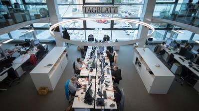Journalistinnen und Journalisten aus Rorschach und Herisau arbeiten in Zukunft im Newsroom an der Fürstenlandstrasse in St.Gallen. (TAGBLATT/Benjamin Manser)
