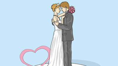 Hochzeit: Für viele bleibt er als «der schönste Tag im Leben» in Erinnerung. Was die Zukunft dem Ehepaar bringt, bleibt jedoch stets ungewiss. (Illustration: Oliver Marx)