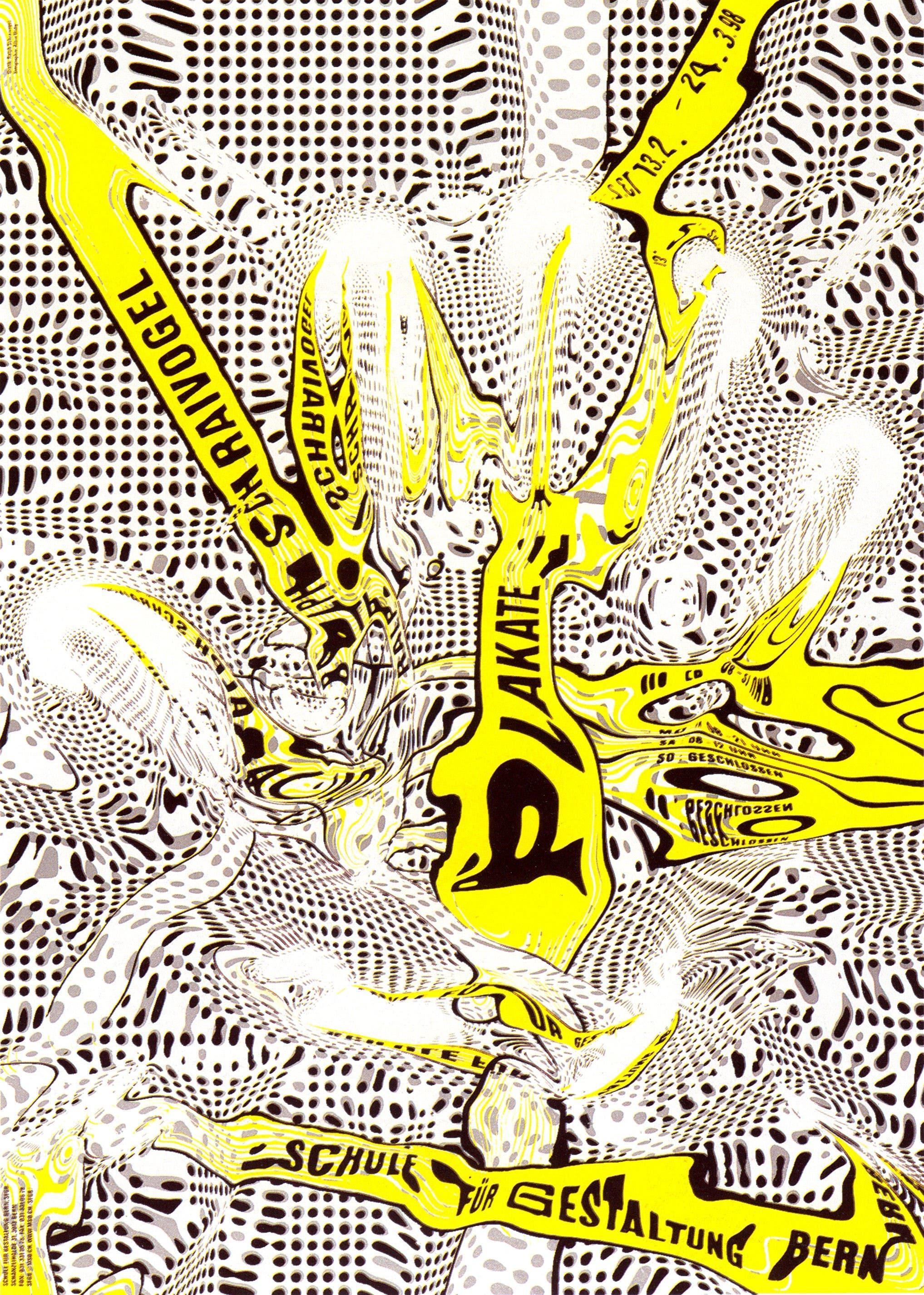 Beispiel aus der Ausstellung «Pre-digital», Plakat von Ralph Schraivogel (Zürich): Weltformat-Organisator Erich Brechbühl dazu: «Ralph Schraivogel ist bekannt für visuelle Experimente mit der Reprokamera, die wie digitale Effekte aussehen. Für das Plakat seiner eigenen Ausstellung erstellte er ein Gipsmodell seiner Hand (Bild unten), aus dem er via Thermoformen ein transparentes Relief herstellte. Er konnte dieses Relief dann mit Wasser füllen, was unter der Reprokamera zu Verzerrungen führte.»