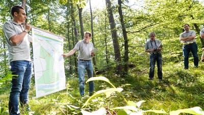Der Förster Roger Hollenstein stellt die Idee hinter dem Posten «Unser Thurgauer Wald» an der Pressekonferenz vor. (Bild: Donato Caspari)
