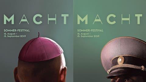 Die drei Plakatmotive zum diesjährigen Lucerne Festival mit dem Thema «Macht». (Bilder: Lucerne Festival)