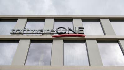 Das Logo der Firma SoftwareOne am Hauptsitz in Stans. (Bild: Urs Flüeler/Keystone, 30. September 2019)