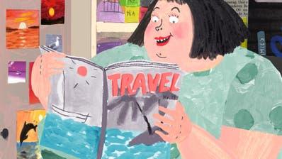 DieZeitschriftenverkäuferin inAnete Meleces Film «The Kiosk» macht ihren Traum von der Südsee wahr. (Bild: Anete Melece/Fantoche)