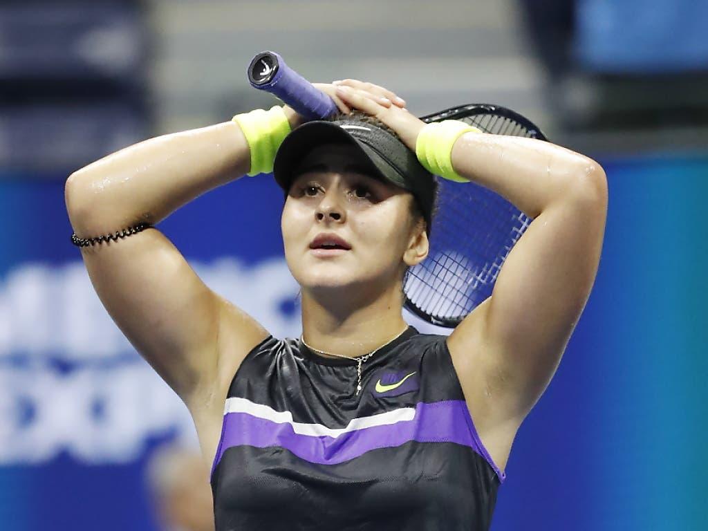 Kann es kaum fassen: In ihrem erst vierten Grand-Slam-Turnier steht die 19-jährige Kanadierin Bianca Andreescu bereits im Final (Bild: KEYSTONE/EPA/JOHN G. MABANGLO)