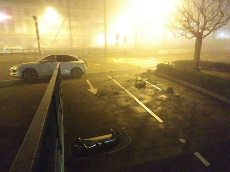 Beim Unfall gelangte das Auto in die Hecke vor dem Washington-Gebäude.