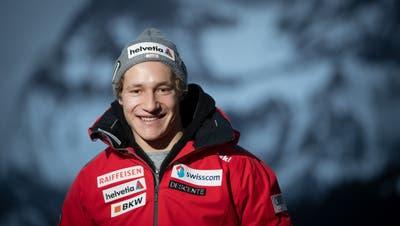 Marco Odermatt am Freitag bei einem Medientermin in Adelboden. (Sven Thomann/Freshfocus)