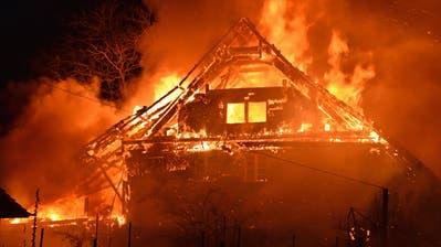 Das Bauernhaus und der Anbau standen lichterloh in Flammen. (Bild: Luzerner Polizei)