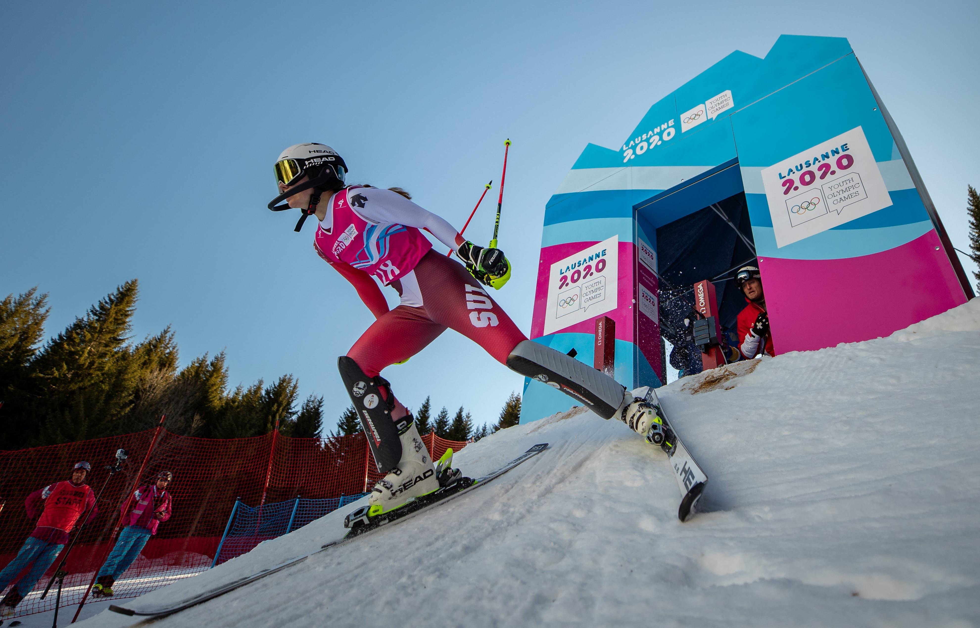 Die Schweizer Nachwuchsskifahrerin Amélie Klopfenstein – von der Ersatzfahrerin zur zweifachen Medaillengewinnerin. (Bild: OIS, Les Diablerets, 11. Januar 2020)