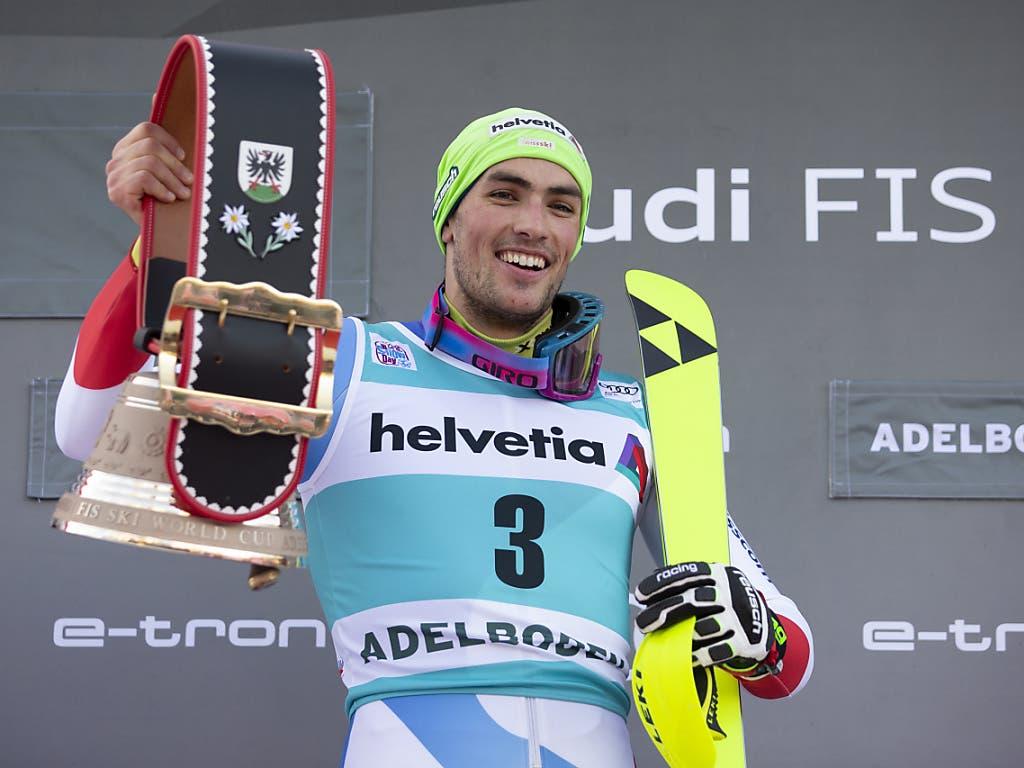 Daniel Yule hielt dem Druck in Adelboden stand und ist nun Schweizer Slalom-Rekordsieger