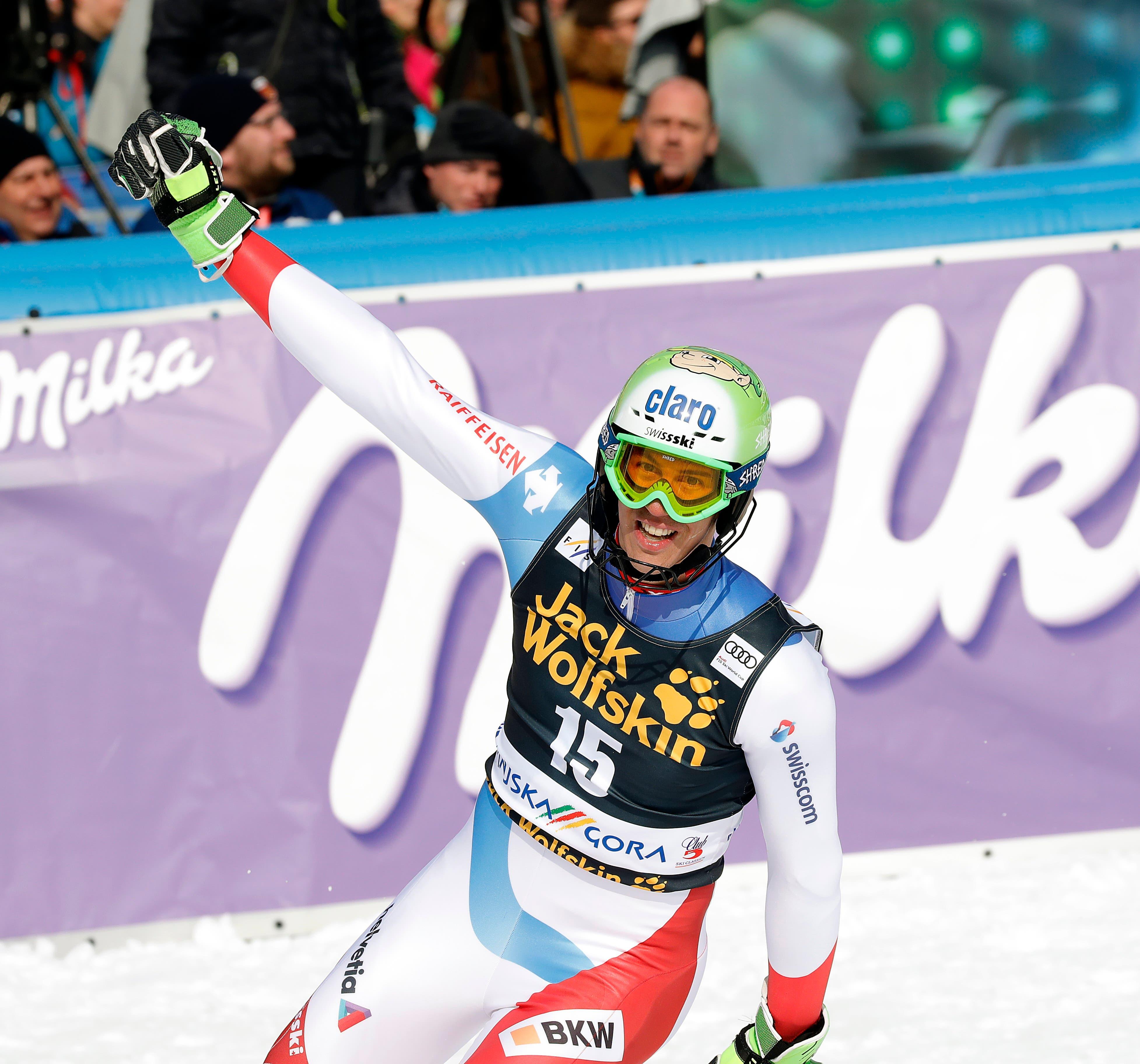 10. März 2019: Im Slalom von Kranjska Gora schafft Ramon Zenhäusern zum ersten Mal den Sprung nach ganz oben in dieser Disziplin, und das auf eine eindrücklich Art und Weise: Mit über einer Sekunde Vorsprung verwies er Henrik Kristoffersen und Marcel Hirscher auf die Plätze zwei und drei.