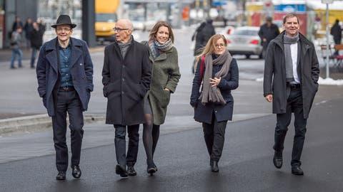 Für Markus Buschor, Thomas Scheitlin und Peter Jans (von links) ändert sich nichts. Anders ist das bei Sonja Lüthi und Maria Pappa. (Michel Canonica (30. November 2017))