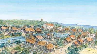 Eine Illustration aus dem neuen Themenheft: Blick von Westen auf Oberneunforn, wie es um 1620 ausgesehen haben könnte. ((Bild: PD/André Hiltbrunner, 2020))