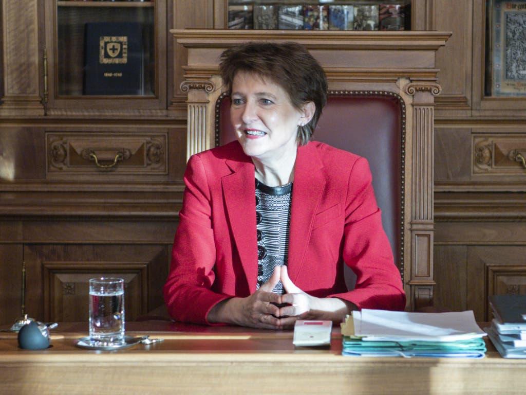 Vor dem Neujahrsempfang leitete Bundespräsidentin Simonetta Sommaruga die erste Bundesratssitzung im neuen Jahr.