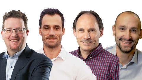 Die vier Kandidaten: David Oehler, Lee White, Martin Justitz und Martin Hug. ((Bild: Mario Testa))