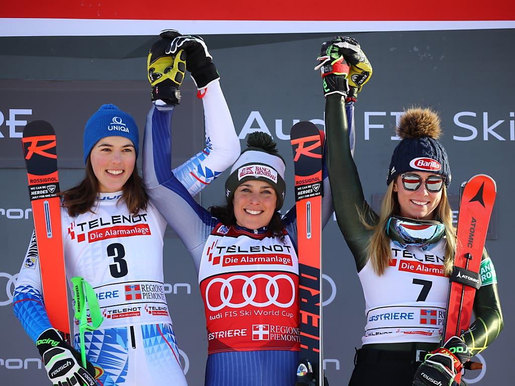 Drei Fahrerinnen praktisch zeitgleich: Petra Vlhova und Federica Brignone teilen sich den Sieg, Mikaela Shiffrin wird um eine Hundertstelsekunde auf Platz 3 verwiesen