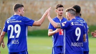 Die FCL-Angreifer Darian Males (Nummer 29) undFrancesco Margiotta (Nummer 9) dürften guten Chancen auf einen Stammplatz haben. (Martin Meienberger/Freshfocus (Marbella, 17. Januar 2020))
