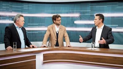 Im TVO-Talk: Kilian Looser (FDP), Moderator Stefan Schmid und Toni Thoma (SVP).