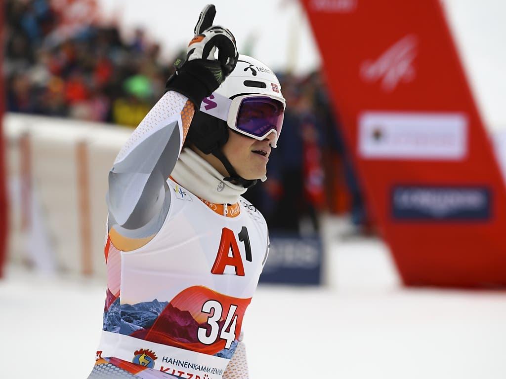 Der 19-jährige norwegische Überraschungsmann Lucas Braathen freut sich auch über seinen 4. Platz