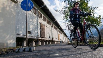 Für die Velofahrer soll es bessere Wege geben. Bereits heute gelangen sie auf einem Veloweg durch die Industriezone Werkmatt sicher zum Bahnhof Altdorf. (Bild: PD)