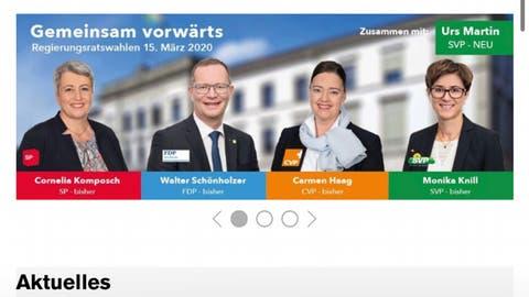 Ein Screenshot der kritisierten Wahlwerbung von der offiziellen Homepage des Kantons. Diese Werbung wurde bereits wieder entfernt. (Screenshot)