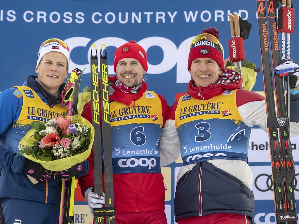 Die drei Tour-Favoriten Johannes Hösflot Klaebo, Sergej Ustjugow und Alexander Bolschunow (von links).