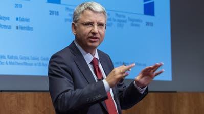 Roche-CEO Severin Schwan anlässlich der Präsentation der Jahreszahlen. (Keystone)