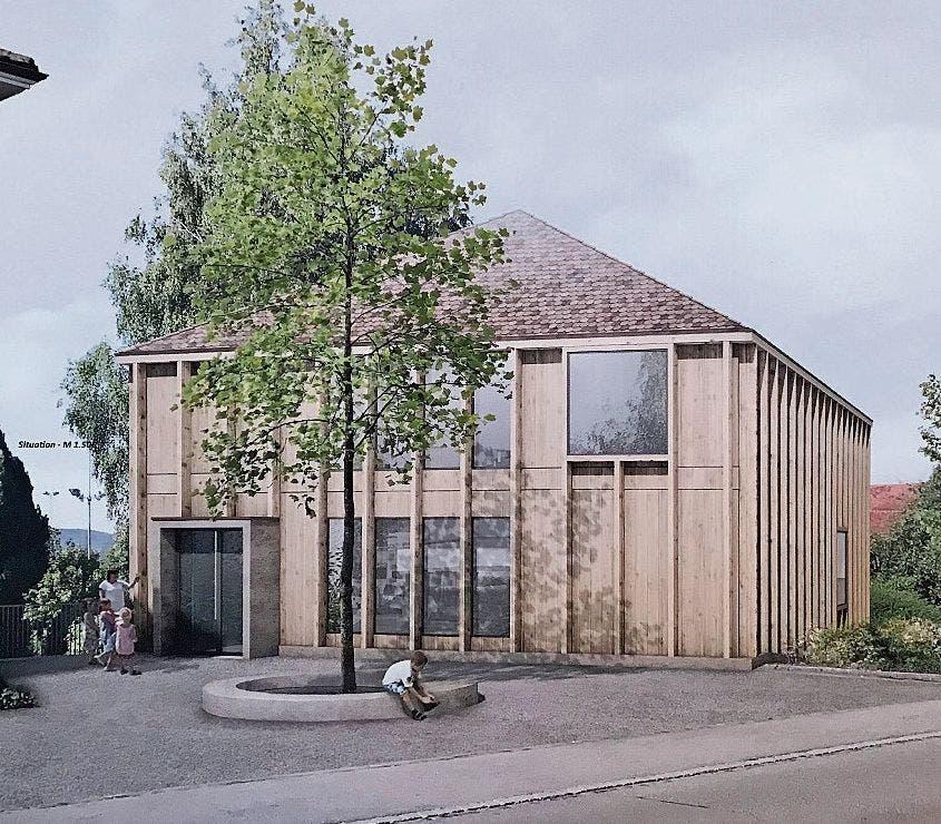 Viel Interesse an den ausgestellten Modellen. Das alte Niederwiler Schulhaus soll abgebrochen werden. An die Stelle des Riegelhauses soll ein moderner Holzbau treten.