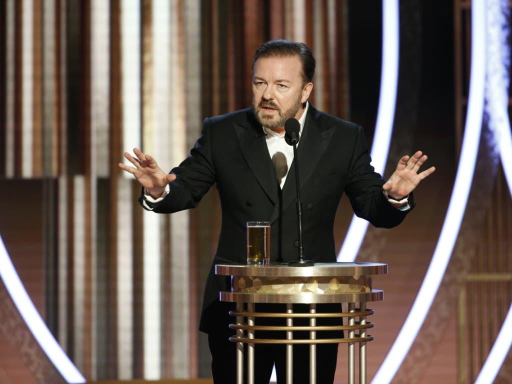Zum fünften Mal stand der britische Komiker Ricky Gervais als Gastgeber bei den Golden Globes in der Nacht auf Montag auf der Bühne.