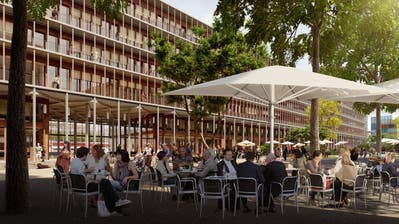 So sieht das Gebäude in einer Visualisierung aus, in welches die Hochschule einzieht. (Visualisierung: Architron / SBB)