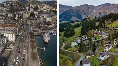 Links im Bild der Schweizerhofquai in der Stadt Luzern, rechts der Ortsteil Sörenberg in der Gemeinde Flühli. (Bilder: Boris Bürgisser, Luzern, 27. März 2019/ Philipp Schmidli, 1. November 2019)