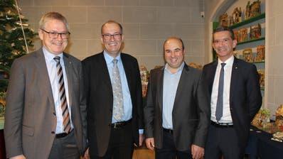Von links: Regierungsrat Urban Camenzind, Bauernpräsident Markus Ritter, Regierungsratskandidat Daniel Furrer und Regierungsrat Beat Jörg. (Bild: PD)
