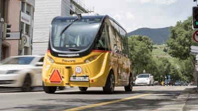 In Sion fahren seit 2016 autonome Kleinbusse im Testbetrieb «SmartShuttle». (Keystone)