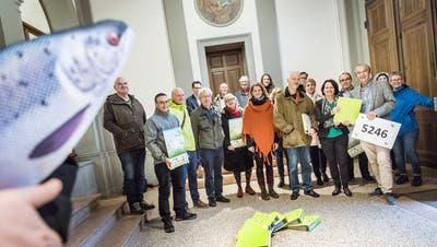 Vertreter von Verbänden und Parteien bei der Einreichung mit einem Atlantischen Lachs aus Stoff. Sie hoffen, dass diese Art dereinst in der Thur laicht. (Andrea Stalder (30. Oktober 2019))