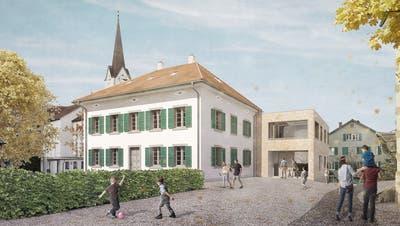 Die Visualisierung zeigt den Eingang des künftigen Sirnacher Kindergartens im Anbau des Pfarrhauses. (Bild: PD)