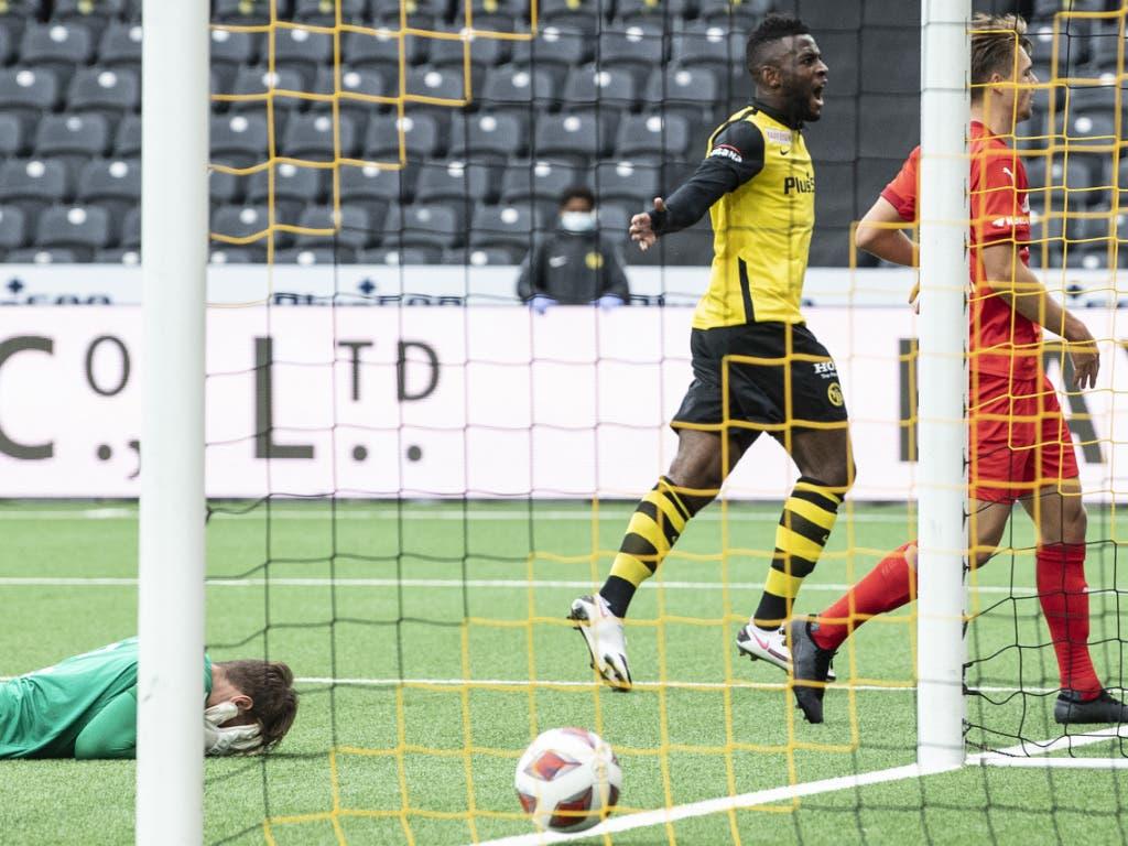 Jean-Pierre Nsame feiert den Treffer zum 1:0-Sieg der Berner Young Boys über Vaduz.